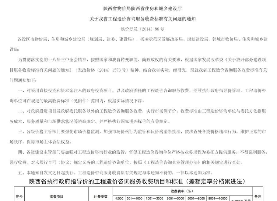 陕西省造价咨询费用收费标准 陕价行发〔2014〕88号